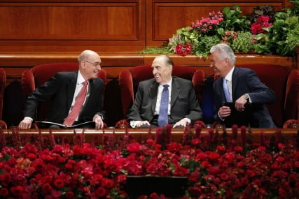 The First Presidency at the General Women's Session on Saturday, March 26, 2016 in the Conference Center. Copyright Intellectual Reserve, Inc. All rights reserved.