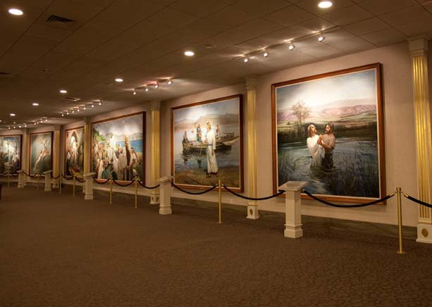 Ten life-sized paintings depicting the life of Jesus are a focus of the main floor in the North Visitors' Center in Salt Lake City. Photo courtesy of the Church of Jesus Christ of Latter-day Saints