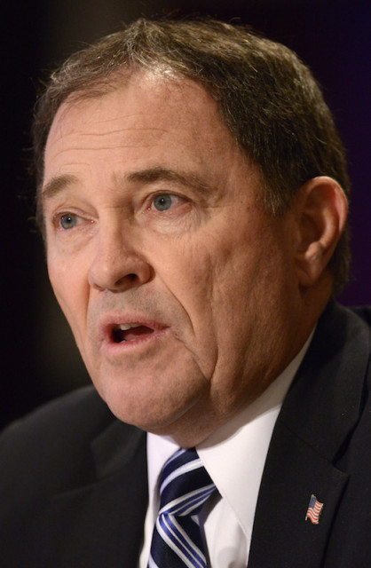 Utah Gov. Gary Herbert, who opposes abortion rights, signed a law March 29, 2016 that requires anesthesia be used in abortions after the 20th week of pregnancy.    REUTERS/Mike Theiler