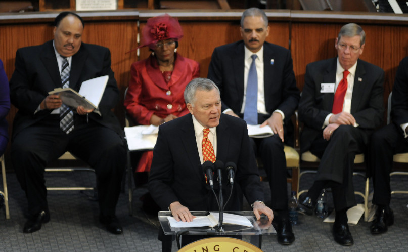 Georgia's Republican Governor Nathan Deal must decide whether to sign a controversial religious freedom bill into law. In this photo, he is spoke during an annual Martin Luther King, Jr. Commemorative Service in Atlanta, Georgia, January 17, 2011. REUTERS/Tami Chappell.