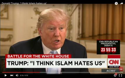 Screenshot of CNN interview of Donald Trump.