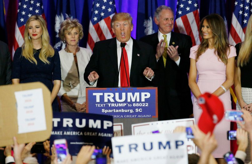 Republican U.S. presidential candidate Donald Trump speaks with his daughter Ivanka, left, and his wife Melania, right, at his sides at his 2016 South Carolina presidential primary night victory rally in Spartanburg, South Carolina February 20, 2016. Photo courtesy of REUTERS/Jonathan Ernst *Editors: This photo may only be republished with RNS-GUSHEE-COLUMN, originally transmitted on March 10, 2016.
