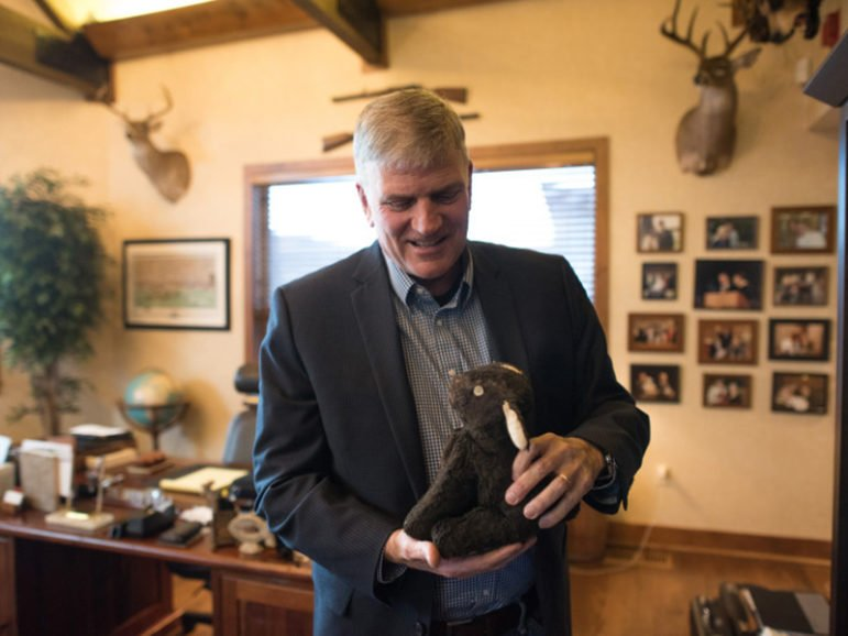 Franklin Graham at his office at Samaritan's Purse in Boone, N.C., on Feb. 8, 2016. Religion News Service photo by Paul Sherar
