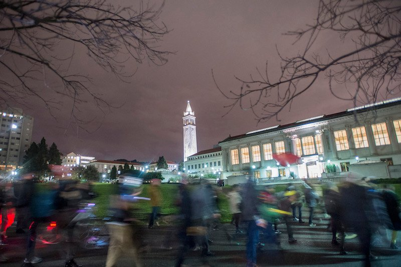 Protesters march through the University of California at Berkeley campus in Berkeley, California December 10, 2014. Photo courtesy REUTERS/Noah Berger