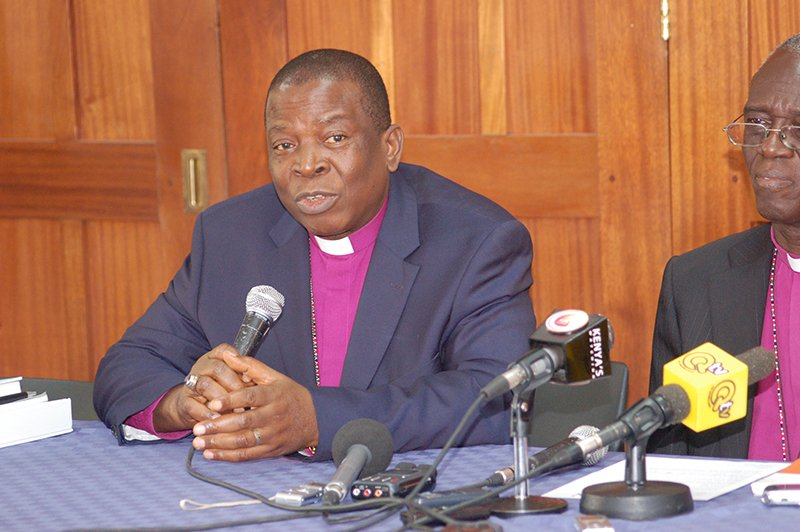 Archbishop Nicholas Okoh, left, the Primate of All Nigeria and Archbishop Eliud Wabukala of Kenya, speak at a  recent news conference in Nairobi. The two provinces are boycotting the meeting in Lusaka Zambia. Religion News Service photo by Fredrick Nzwili