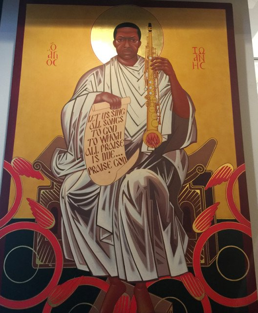 An icon of jazz saxman John Coltrane hangs in a church that bears his name, where he is considered a saint. Religion News Service photo by Kimberly Winston