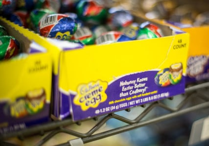 """Cadbury creme eggs on sale in Kansas on March 24, 2016,, still have """"Easter"""" on the packaging. Religion News Service photo by Sally Morrow"""