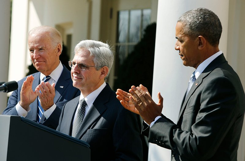U.S. President Barack Obama applauds Judge Merrick Garland, center, of the United States Court of Appeals as his nominee for the U.S. Supreme Court as Vice President Joe Biden, left, joins in at the Rose Garden of the White House in Washington on March 16, 2016. Photo courtesy of REUTERS/Jonathan Ernst *Editors: This photo may only be republished with RNS-GARLAND-JEWISH, originally transmitted on March 16, 2016.
