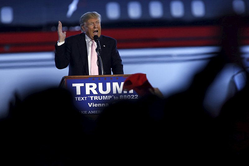 U.S. Republican presidential candidate Donald Trump speaks at a campaign rally at Winner Aviation in Youngstown, Ohio on March 14, 2016. Photo courtesy of REUTERS/Aaron P. Bernstein *Editors: This photo may only be republished with RNS-GUSHEE-COLUMN, originally transmitted on March 16, 2016.