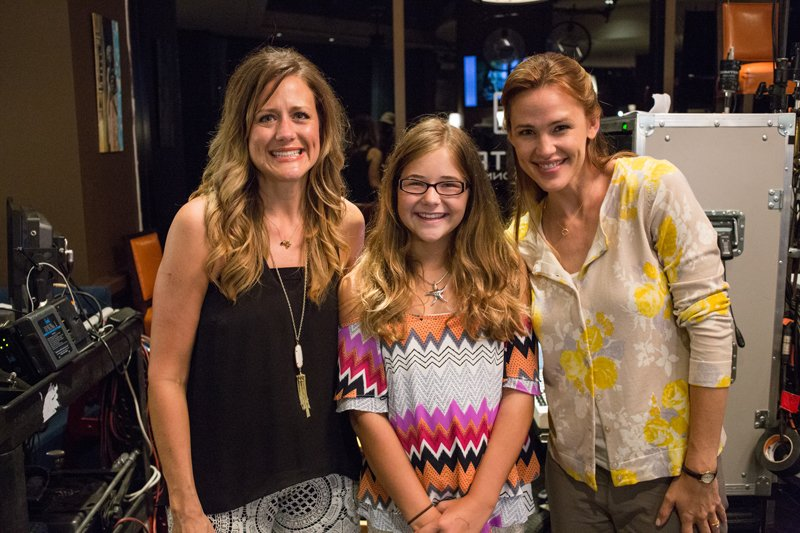 The real Christy and Anna Beam with Jennifer Garner behind the scenes of Columbia Pictures' 'Miracles From Heaven,' in theaters nationwide on March 16, 2016. Photo courtesy of Columbia Pictures