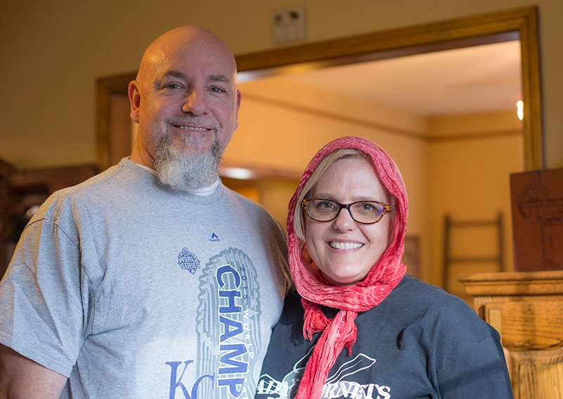Mike and Martha DeVries pose for a photograph in their home in North Kansas City on Feb. 22, 2016. Religion News Service photo by Sally Morrow