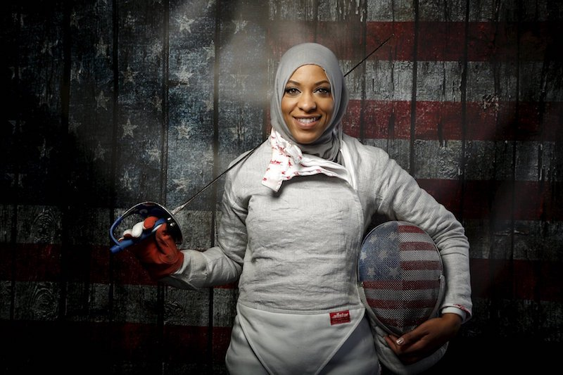 U.S. Olympic team fencer Ibtihaj Muhammad poses for a portrait at the U.S. Olympic Committee media summit in Beverly Hills,  Calif., March 9, 2016. Photo courtesy REUTERS/Lucy Nicholson