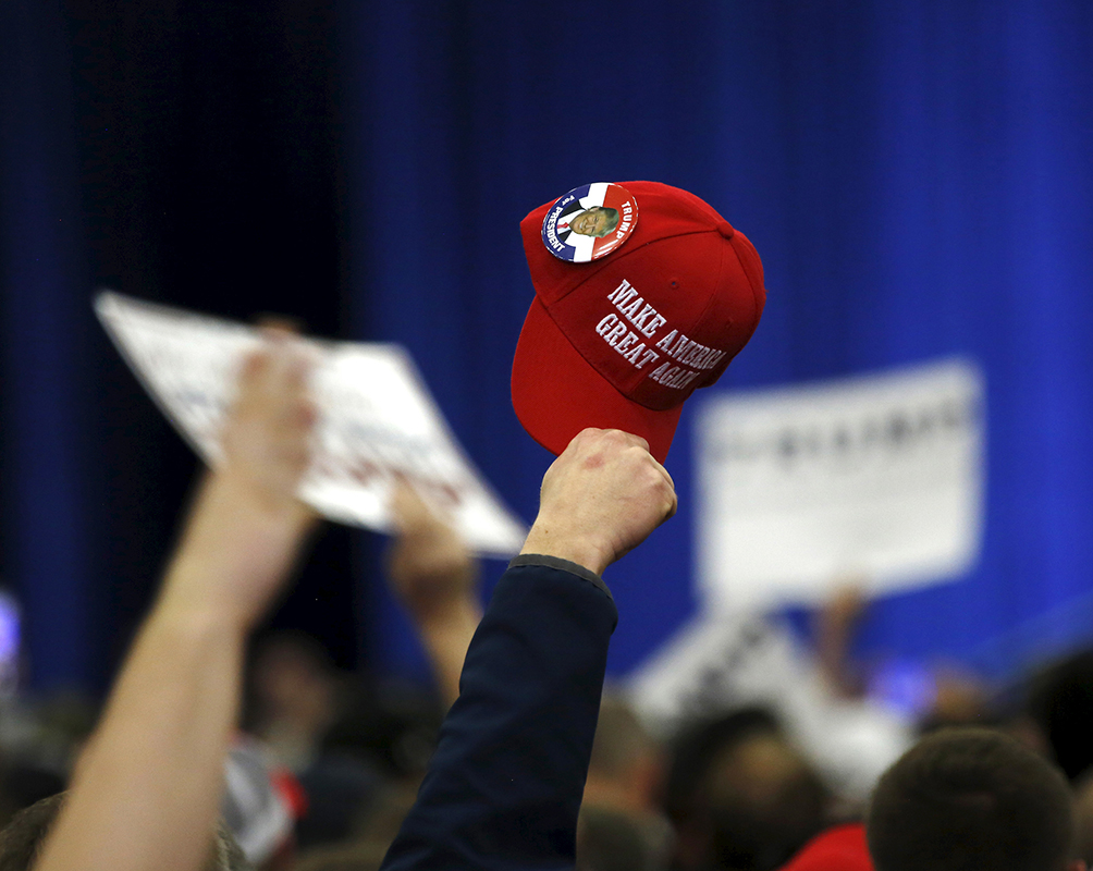 Supporters cheer in support of Republican U.S. presidential candidate Donald Trump as he speaks at a Super Tuesday campaign rally in Louisville, Kentucky on March 1, 2016. Photo courtesy of REUTERS/ Chris Bergin *Editors: This photo may only be republished with RNS-KRATTENMAKER-COLUMN, originally transmitted on March 2, 2016.