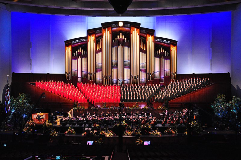 Mormon Tabernacle Choir and Orchestra on Temple Square in the historic Tabernacle in Salt Lake City, Utah. Photo courtesy of Mormon Tabernacle Choir