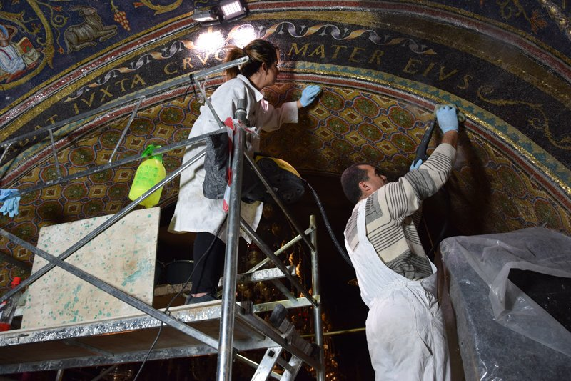 Mosaics cover tens of thousands of feet of the Church of the Holy Sepulcher. Cleaning, analyzing and restoring them is a painstaking process. Photo courtesy of the Mosaic Center, Jericho