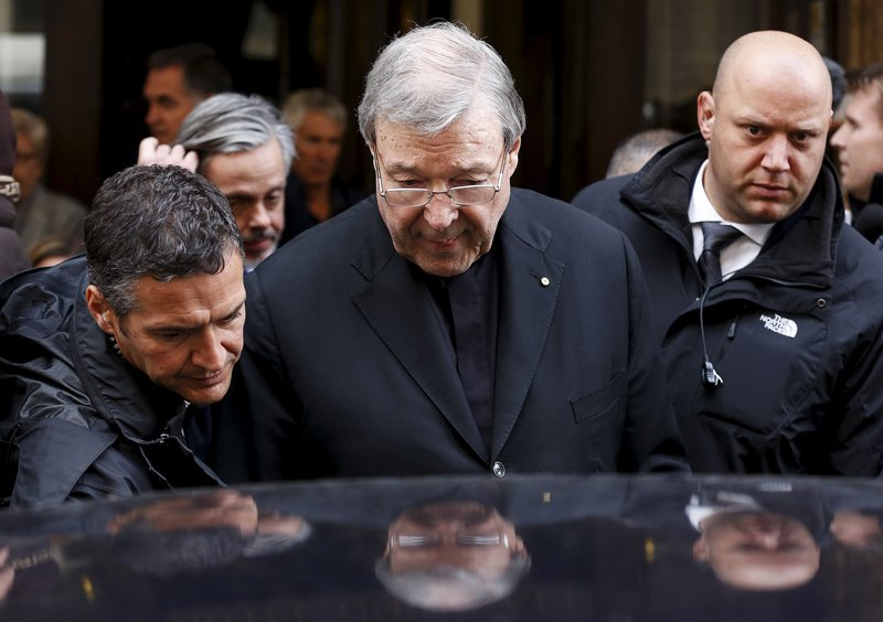 Australian Cardinal George Pell leaves at the end of a meeting with the victims of sex abuse, at the Quirinale hotel in Rome, Italy, on March 3, 2016. REUTERS/Alessandro Bianchi *Editors: This photo may only be republished with RNS-PELL-ABUSE, originally transmitted on March 3, 2016.