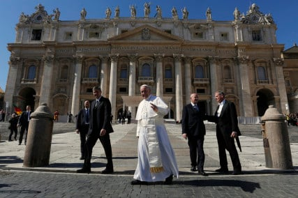 Pope Francis waves as he leaves after leading his weekly general audience in Saint Peter's Square at the Vatican, on March 2, 2016. Photo courtesy of REUTERS/Alessandro Bianchi *Editors: This photo may only be republished with RNS-POPE-MARRIED, originally transmitted on March 3, 2016.