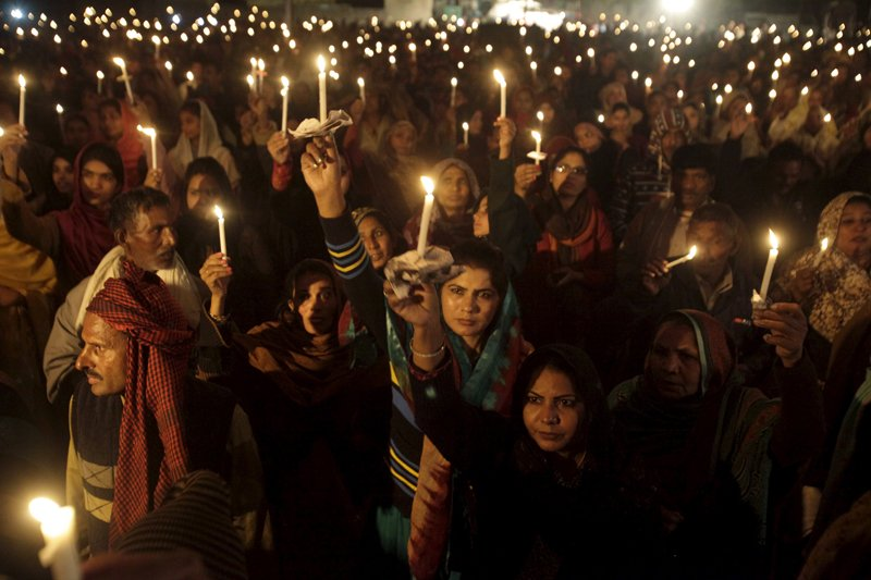 Pakistani Christians hold candles to pay tribute and pray for victims of the Army Public School attack in Peshawar on the anniversary of the attack at a ceremony in Lahore, Pakistan, on December 16, 2015. Photo courtesy of REUTERS/Mohsin Raza *Editors: This photo may only be republished with RNS-SARWAR-OPED, originally transmitted on March 30, 2016.