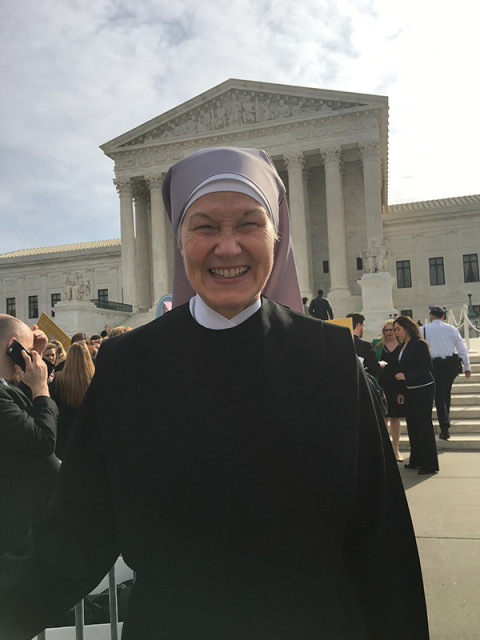 Sister Veronica Susan of the Little Sisters of the Poor, who traveled from Philadelphia to Washington, D.C. to share her views on Zubik v. Burwell, which the Supreme Court heard on March 23, 2016. Religion News Service photo by Lauren Markoe