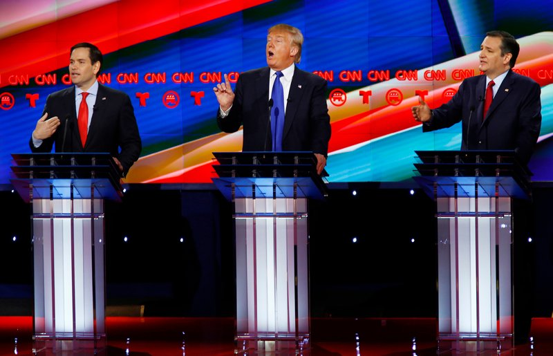Republican U.S. presidential candidates, left to right, U.S. Senator Marco Rubio, Donald Trump and Senator Ted Cruz speak at the debate sponsored by CNN for the 2016 Republican U.S. presidential candidates in Houston, Texas, on February 25, 2016. Photo courtesy of REUTERS/Mike Stone *Editors: This photo may only be republished with RNS-SUPER-TUESDAY, originally transmitted on March 1, 2016.