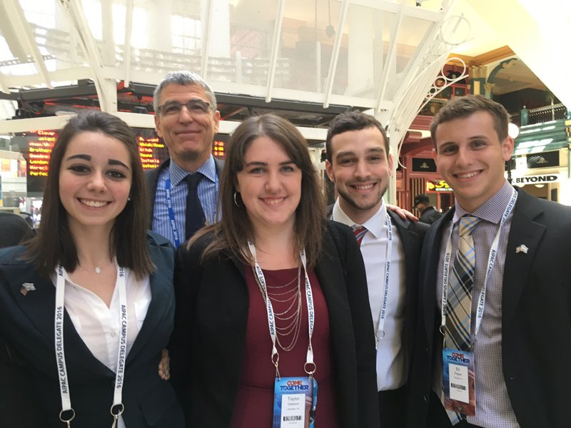 Left to right, Kathryn Fleisher, incoming NFTY President; Rabbi Rick Jacobs, head of the Union for Reform Judaism; Taylor Gleeson, current NFTY Social Action Vice President; Jeremy Cronig, current NFTY President; and Eli Ziegler, at the American Israel Public Affairs Committee annual conference in Washington, D.C. with members of the delegation from the Reform movement's youth division. Religion News Service photo by Lauren Markoe