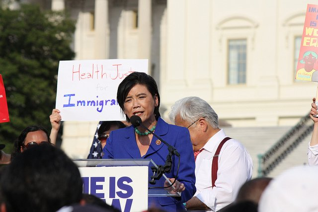 Rep. Judy Chu speaks at a rally in support of immigration reform.