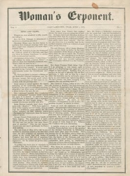 The first issue of the Woman's Exponent, which ran from 1872 to 1914. © 2016 by Intellectual Reserve, Inc. All rights reserved.