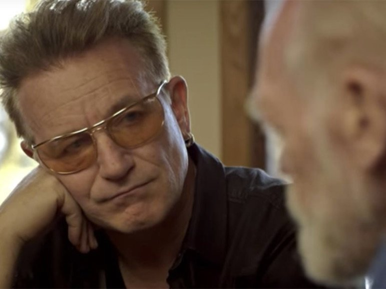 Bono and Eugene Peterson appear in a screen shot from a video on the Psalms produced by Fuller Seminary.