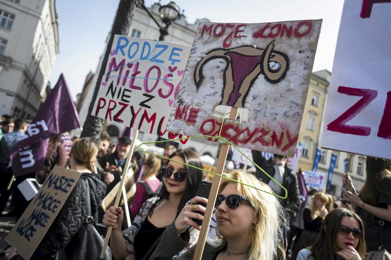 People demonstrate against the Polish government's plan to tightening the abortion law in Krakow, Poland REUTERS/Lukasz Kaminski/