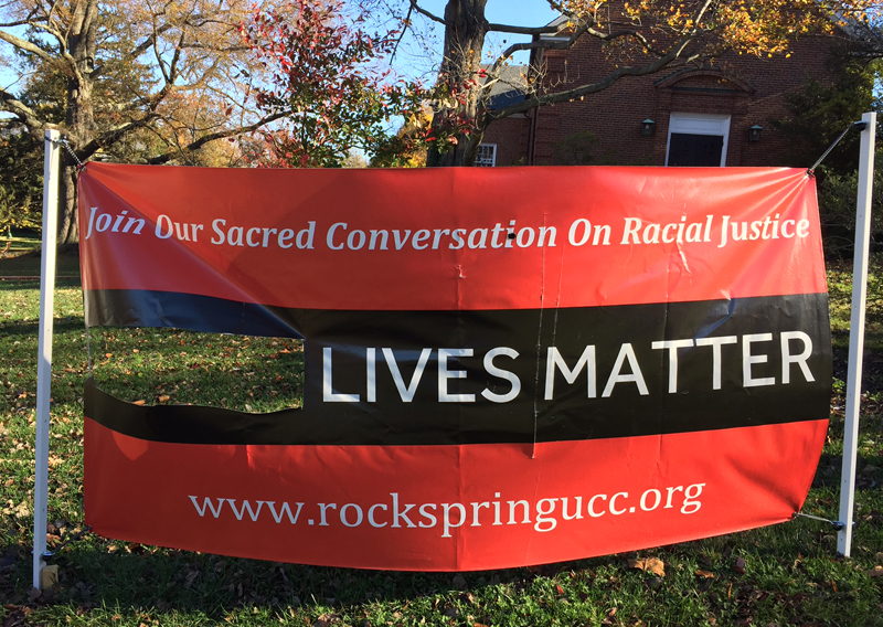 Vandalized Black Lives Matter sign at Rock Spring Congregational United Church of Christ in Arlington, Va. Photo courtesy of Kathy Dwyer