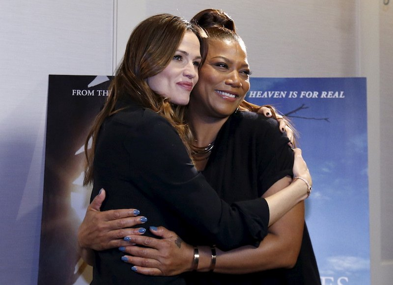 "Jennifer Garner (L) and Queen Latifah star in ""Miracles from Heaven,"" which did well at the box office in early April 2016. REUTERS/Mario Anzuoni"