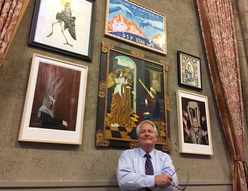 """""""The arts are a powerful way of accessing the spiritual journey,"""" said Rev. Dr. R. Scott Colglazier, First Congregational's senior pastor and the show's co-curator as he conducted a tour of the show on an April Saturday. Religion News Service photo by Kimberly Winston"""