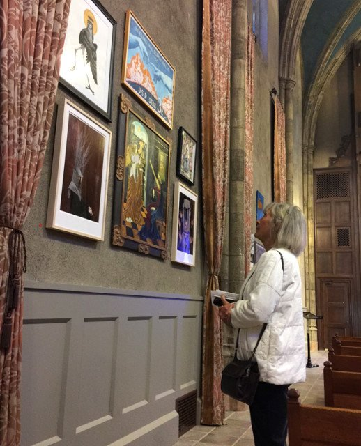 """Deanna Wilcox spends some alone time in """"Art & Spirit,"""" a kind of meditation for her before Sunday morning services at First Congregational Church of Los Angeles. Religion News Service photo by Kimberly Winston"""