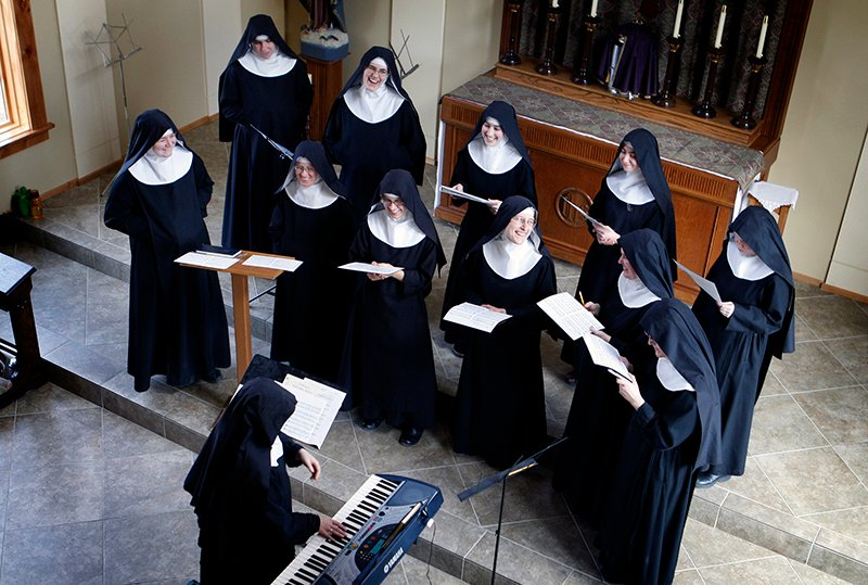 """The Benedictines of Mary, Queen of the Apostles are cloistered nuns who have had four albums top the charts. They released their latest album, """"Adoration at Ephesus,"""" on April 26, 2016. The nuns recorded this album themselves, in their new chapel, in the quiet hills in Kansas where they farm, make vestments and spend their days in silence and prayer. Religion News Service photo by Karen Pulfer Focht"""