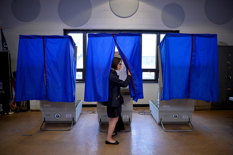 A voter leaves the booth after casting her ballot in the Pennsylvania primary at a polling place in Philadelphia on April 26, 2016. Photo courtesy of REUTERS/Charles Mostoller *Editors: This photo may only be republished with RNS-PALLY-COLUMN, originally transmitted on April 27, 2016.