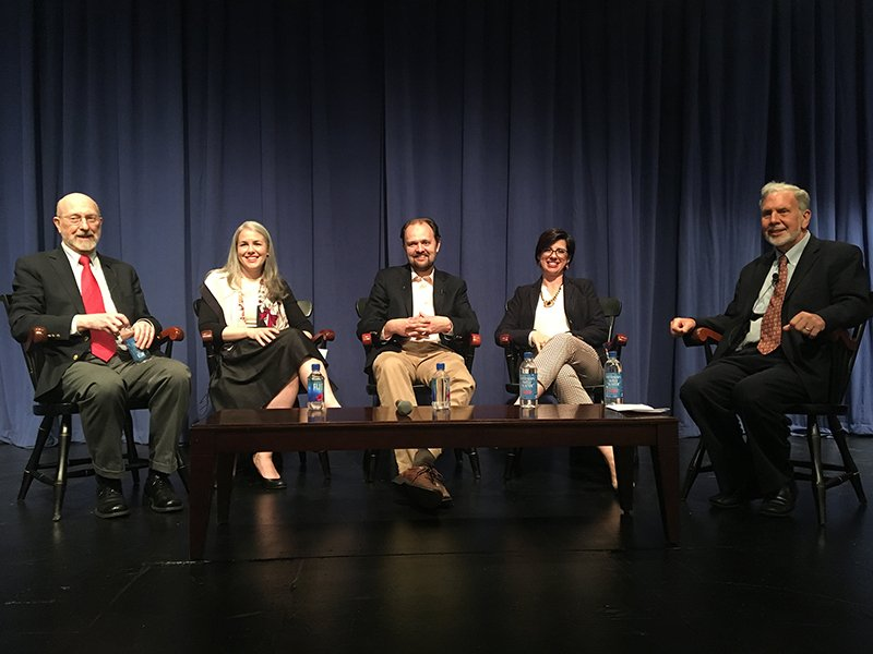 "From left to right, participants at a Fordham University panel titled, ""Is the Pope Catholic?"" are Former New York Times religion writer and Commonweal magazine editor Peter Steinfels; Alice Kearney Alwin, director of Mission and Ministry at Marymount School, a Catholic girls school in Manhattan; New York Times columnist Ross Douthat; Natalia Imperatori-Lee, a theologian at Manhattan College; and moderator John Sexton, president emeritus of New York. Photo courtesy of Fordham University"