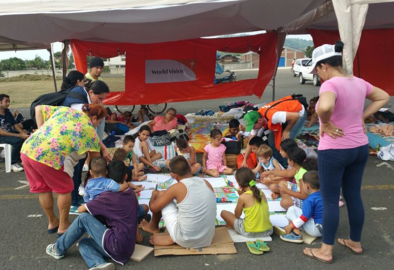 "Emergency teams from U.S. faith-based humanitarian relief agencies are on the ground in northwest Ecuador after the 7.8 magnitude earthquake that took the lives of at least 413 people. Pictured here is a ""child-safe space"" for survivors in Portoviejo. Photo courtesy of Julia Carrion/World Vision"