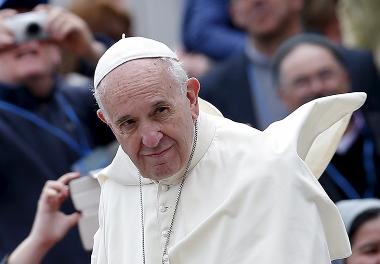 Pope Francis arrives at the weekly audience in Saint Peter's Square at the Vatican, on April 27, 2016. Photo courtesy of REUTERS/Alessandro Bianchi *Editors: This photo may only be republished with RNS-SKULLCAP-AUCTION, originally transmitted on April 27, 2016.