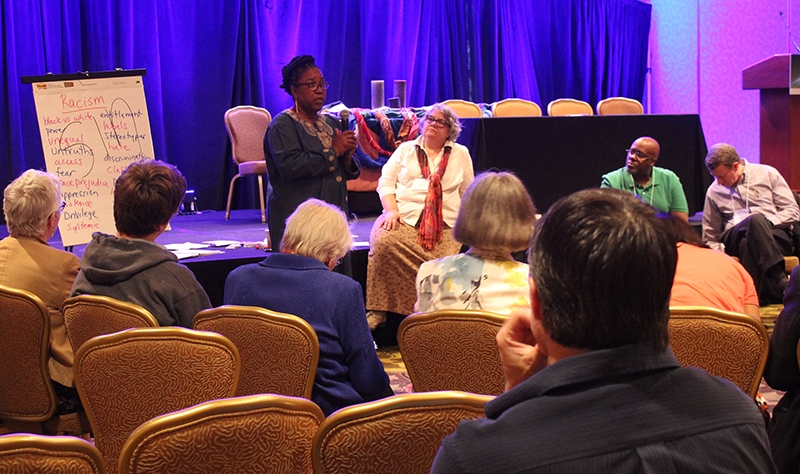 "Yvonne Platts, left, and Pam Nath, right, lead ""Face to Face with Racism"" workshop at Ecumenical Advocacy Days on April 17, 2016. RNS photo by Adelle M. Banks"