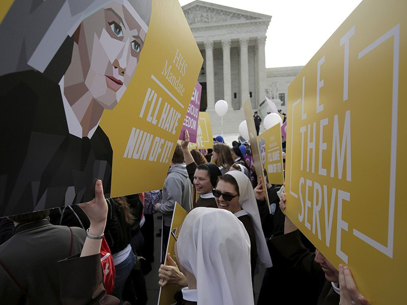 Nuns rally before Zubik v. Burwell