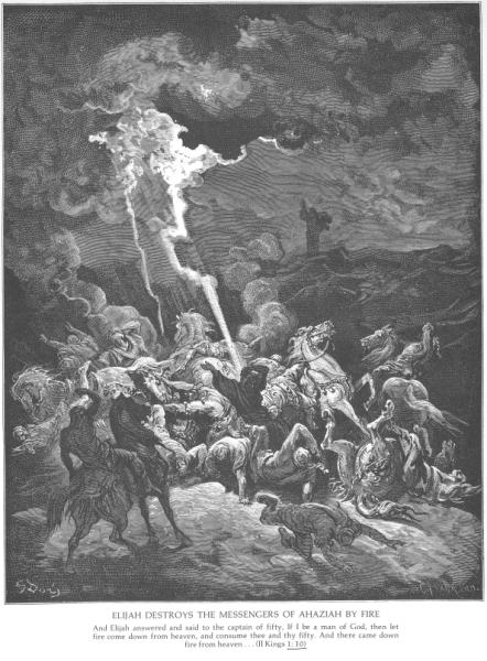 Artist Gustave Dore's woodcuts of the Bible include the passage in 1 Kings where the Prophet Elijah confronts the priests of Baal