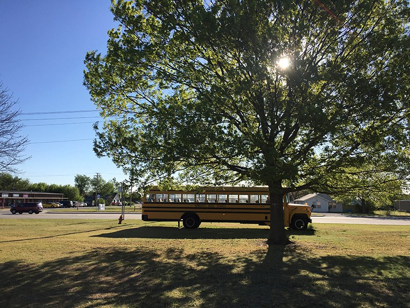 A Newcastle Public Schools bus is seen parked in Newcastle, Oklahoma
