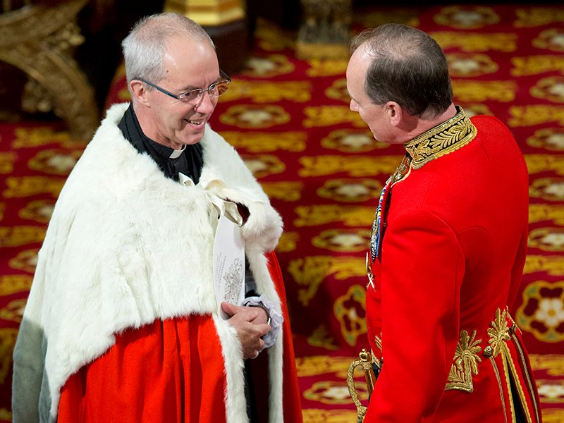 Justin Welby, Archbishop of Canterbury attends the State Opening of Parliament in central London