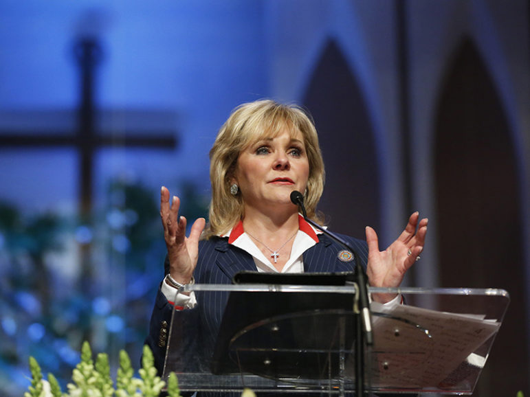 Oklahoma Governor Fallin speaks at the First Baptist Church of Moore community memorial service following the large tornado in Moore, Oklahoma