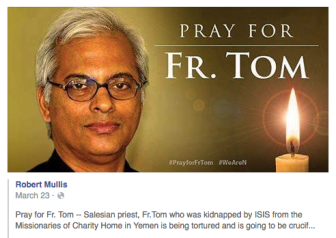 Facebook post asking for prayer for Father Tom Uzhunnalil.