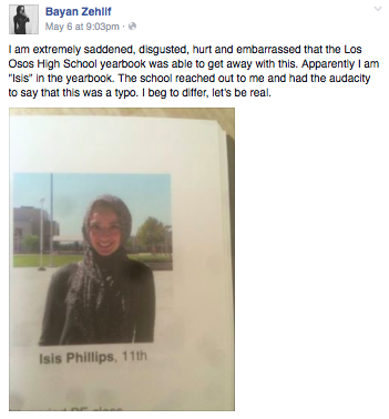 "A yearbook page showing a Muslim student misidentified as ""Isis Phillips"""