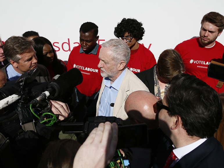 Britain's opposition Labour Party leader Jeremy Corbyn speaks to members of the media during an election campaign poster launch in London on May 3, 2016. Photo courtesy REUTERS/Stefan Wermuth. EDITORS: This photo may only be used with RNS-LABOUR-SCANDAL published May 6, 2016