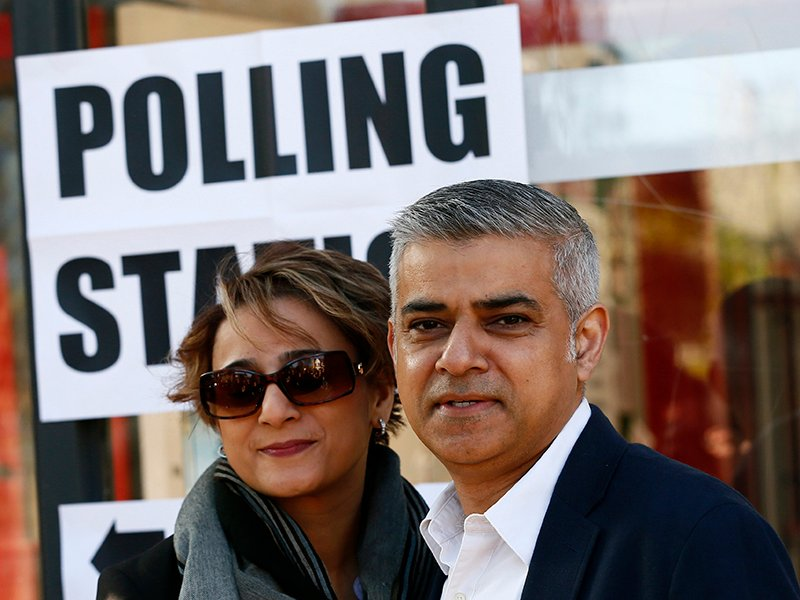 Sadiq Khan, Britain's Labour Party candidate for mayor of London, and his wife, Saadiya