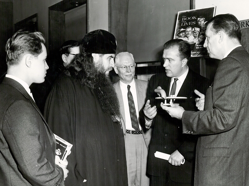 His Eminence Metro Boris of USSR watches a demonstration of the Finger-Fono during his visit to American Bible Society. Photo courtesy of American Bible Society