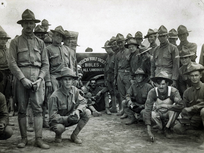 American Bible Society distributed millions of copies of Scriptures to American soldiers during World War I. Photo courtesy of American Bible Society